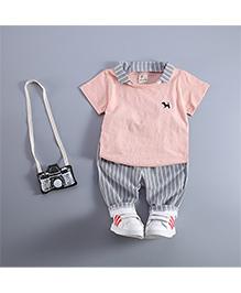 Pre Order: Petite Kids T-Shirt & Capri Set - Peach