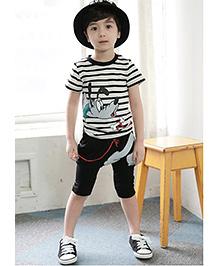 Petite Kids Dog Print Tee & Capri Set - Black