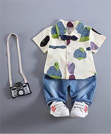 Pre Order: Petite Kids Boys Shirt & Capri Set - Blue
