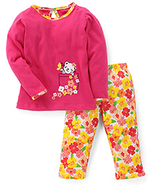 Babyhug Full Sleeves Top And Pajama Floral Print - Pink White Yellow