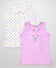 Babyhug Sleeveless Camisoles Teddy Print Pink White - Pack Of 2