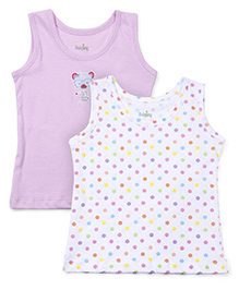 Babyhug Sleeveless Camisoles Teddy And Polka Print Pack Of 2 - White & Pink