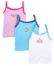 Babyhug Singlet Camisoles Multiprint Pink White Blue - Pack Of 3