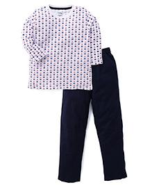 Babyhug Full Sleeves Night Suit Set Anchor Wheel Print - White Navy Blue