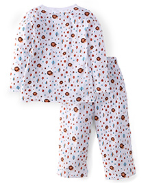 Babyhug Full Sleeves Night Suit Set Lion Print - White