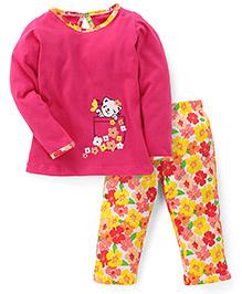 Babyhug Full Sleeves Top And Pajama Floral Print - Pink Yellow