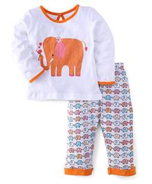 Babyhug Full Sleeves Elephant Print Top And Pajama - White Orange