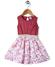 Babyhug Sleeveless Frock Floral Print - Berry Pink And Off White