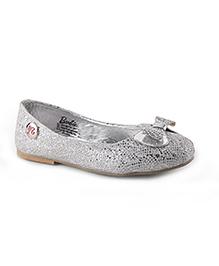 Barbie Slip-On Ballerina Shoes Mesh Bow Applique - Silver