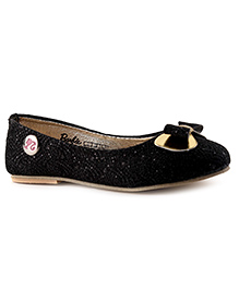 Barbie Slip-On Ballerina Shoes Mesh Bow Applique - Black