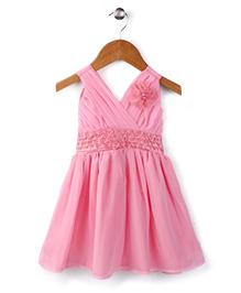 Babyhug Party Wear Frock Floral Applique - Pink