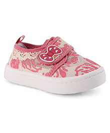 Cute Walk by Babyhug Mary Jane Shoes Bow Applique - Pink And White