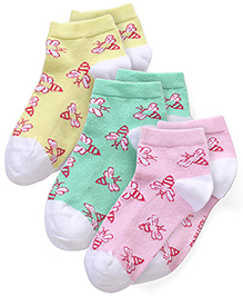 Mustang Multi Print Socks Pink Lemon Green - Pack Of 3