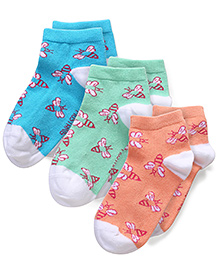 Mustang Multi Print Socks Blue Orange Green - Pack Of 3