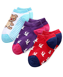 Mustang Multi Print Socks Red Purple Blue - Pack Of 3