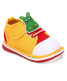 Cute Walk by Babyhug Casual Shoes Hippo Applique - Yellow Red