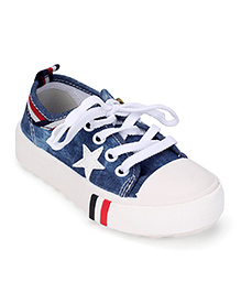 Cute Walk by Babyhug Canvas Shoes Star Patch - Navy Blue