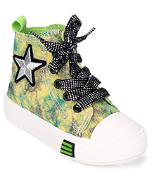 Cute Walk by Babyhug Lace Up Sneakers Star Embroidered Patch - Navy And Green
