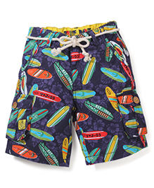Vitamins Shorts with Rope Belt Surf Boards Print - Navy Blue