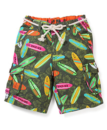 Vitamins Shorts with Rope Belt Surf Boards Print - Green