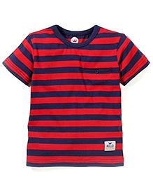 Vitamins Half Sleeves T-Shirt Stripes Print - Red and Blue