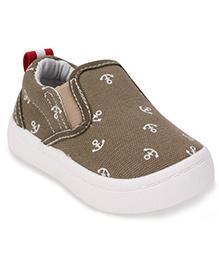 Cute Walk by Babyhug Slip-On Shoes Anchor Print - Olive