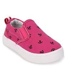 Cute Walk by Babyhug Slip-On Shoes Anchor Print - Fuchsia Pink
