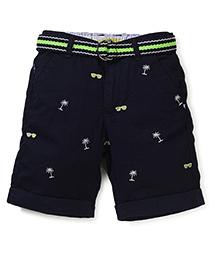 Vitamins Shorts With Belt Multi Print - Aqua