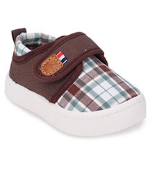 Cute Walk by Babyhug Casual Shoes Checks Print - Coffee Brown