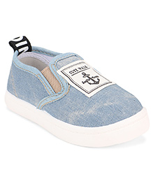 Cute Walk by Babyhug Slip-On Shoes Anchor Patch - Light Blue