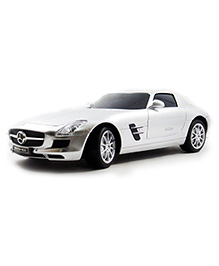 Flyers Bay Licenced Remote Control Car Mercedes Benz SLS AMG Full Function Car Toy With Shock Absorber And LED Lights - White