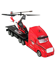 Flyer's Bay Combo Of Helicopter & Truck - Red