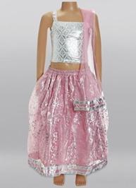 Pink Ghagra with Silver Choli & Duppatta