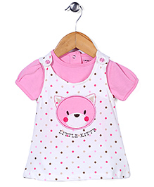 Doreme Frock With Inner Top Little Kitty Print - White And Pink