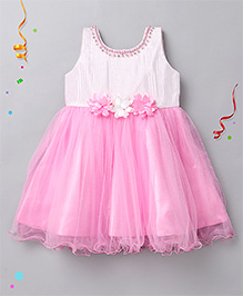 Babyhug Sleeveless Party Frock Flower Applique - Pink White