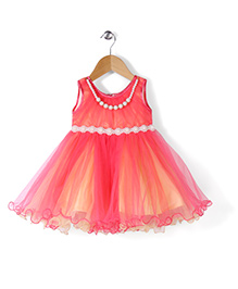 Babyhug Sleeveless Party Frock With Necklace Bead Detailing - Pink Yellow