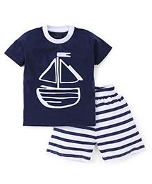 Babyhug Half Sleeves T-Shirt And Stripe Shorts Ship Print - Navy White