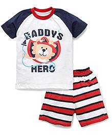 Babyhug Half Sleeves T-Shirt And Shorts Set Daddy's Hero Print - Red Navy White