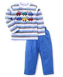 Babyhug Doctor Sleeves T-Shirt And Pant Set Stripes Pattern - Blue