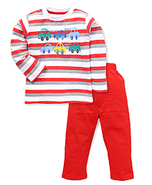 Babyhug Full Sleeves T-Shirt And Pant Set Stripes Pattern - Red