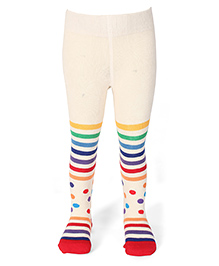 Mustang Stripes & Dots Printed Stocking Tights - Off White