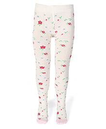 Mustang Floral Printed Footed Stocking Tights - Off White
