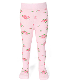 Mustang Floral Printed Footed Stocking Tights - Light Pink