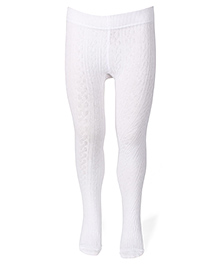 Mustang Plain Solid Color Tight Stockings - White