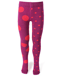 Mustang Footed Stocking Tights Dot Print - Purple