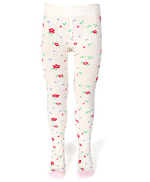 Mustang Footed Stocking Tights Floral Print - White