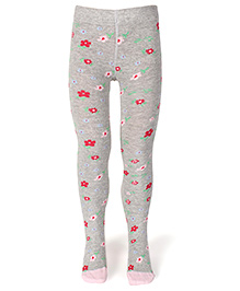 Mustang Footed Stocking Tights Floral Print - Grey