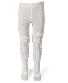 Mustang Footed Stocking Tights Heart Print - Grey