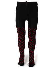 Mustang Footed Stocking Tights Heart Print - Black
