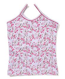 Cucumber Floral Printed Singlet Slips - White & Pink